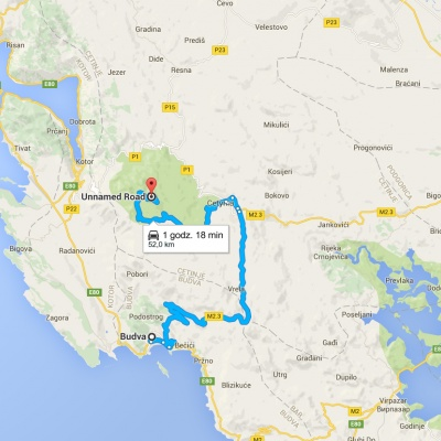Dojazd do Parku Narodowego Lovćen, źródło: Mapy Google